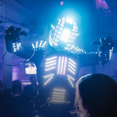 LED lit robots for wild parties
